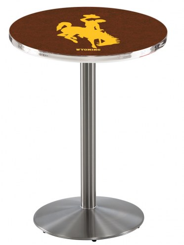 Wyoming Cowboys Stainless Steel Bar Table with Round Base