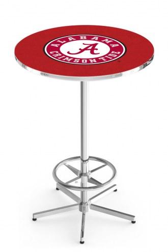 Alabama Crimson Tide Script A Chrome Bar Table with Foot Ring