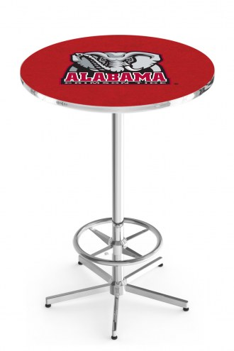Alabama Crimson Tide Chrome Bar Table with Foot Ring