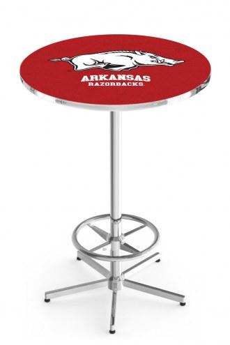 Arkansas Razorbacks Chrome Bar Table with Foot Ring