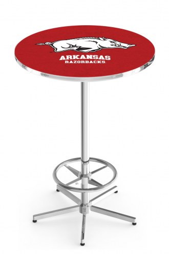 Arkansas Razorbacks Chrome Bar Table with Foot Ring