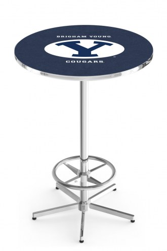 BYU Cougars Chrome Bar Table with Foot Ring