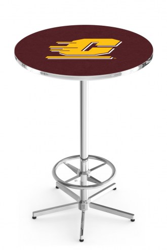 Central Michigan Chippewas Chrome Bar Table with Foot Ring
