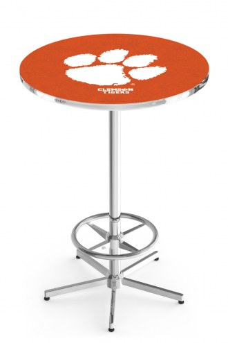 Clemson Tigers Chrome Bar Table with Foot Ring