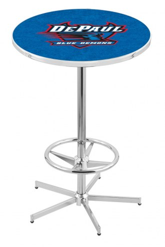 DePaul Blue Demons Chrome Bar Table with Foot Ring