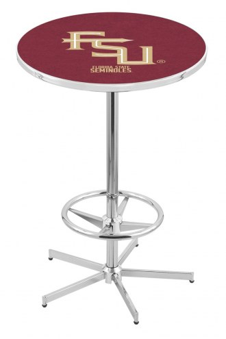 Florida State Seminoles Script Chrome Bar Table with Foot Ring