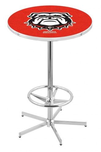 Georgia Bulldogs Chrome Bar Table with Foot Ring