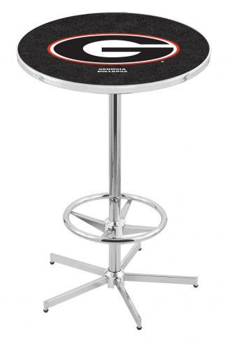 "Georgia Bulldogs ""G"" Chrome Bar Table with Foot Ring"