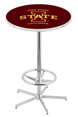 Iowa State Cyclones Chrome Bar Table with Foot Ring