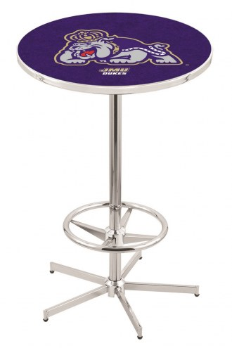 James Madison Dukes Chrome Bar Table with Foot Ring