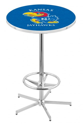 Kansas Jayhawks Chrome Bar Table with Foot Ring