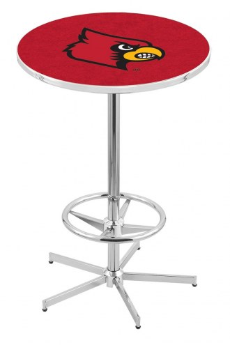 Louisville Cardinals Chrome Bar Table with Foot Ring
