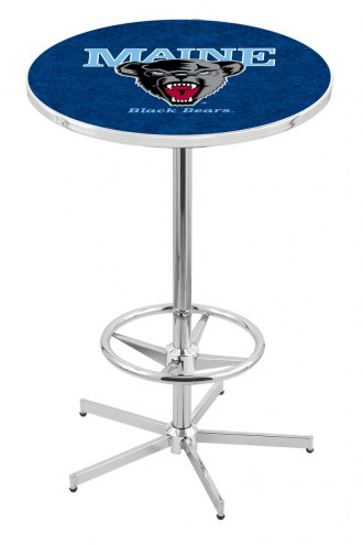 Maine Black Bears Chrome Bar Table with Foot Ring