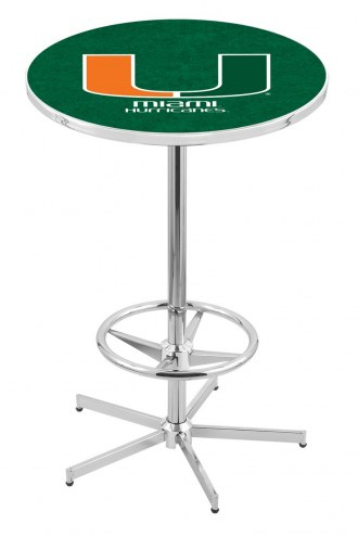 Miami Hurricanes Chrome Bar Table with Foot Ring