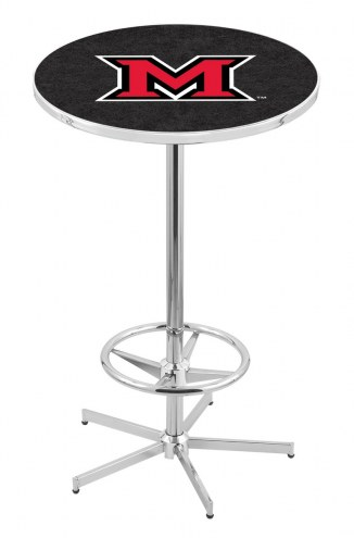 Miami of Ohio RedHawks Chrome Bar Table with Foot Ring