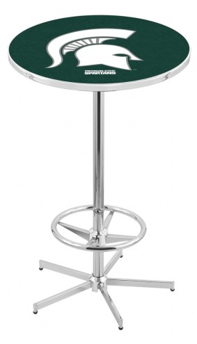 Michigan State Spartans Chrome Bar Table with Foot Ring