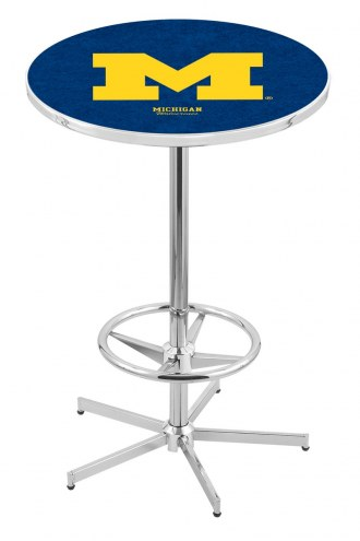 Michigan Wolverines Chrome Bar Table with Foot Ring