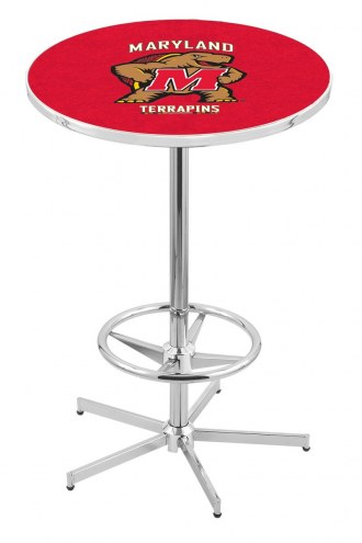 Maryland Terrapins Chrome Bar Table with Foot Ring