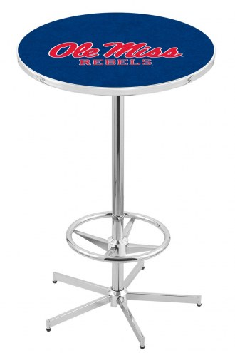 Mississippi Rebels Chrome Bar Table with Foot Ring