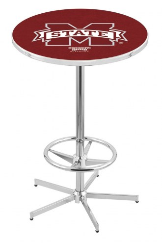 Mississippi State Bulldogs Chrome Bar Table with Foot Ring