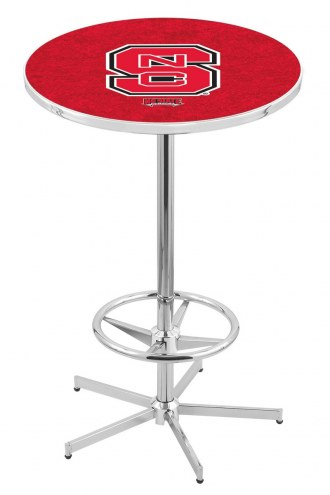 North Carolina State Wolfpack Chrome Bar Table with Foot Ring
