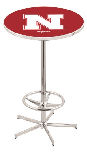 Nebraska Cornhuskers Chrome Bar Table with Foot Ring