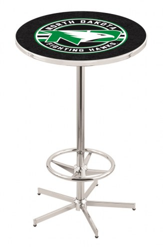 University of North Dakota Chrome Bar Table with Foot Ring