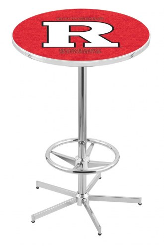 Rutgers Scarlet Knights Chrome Bar Table with Foot Ring