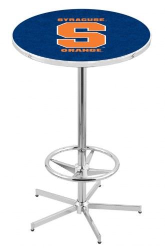 Syracuse Orange Chrome Bar Table with Foot Ring
