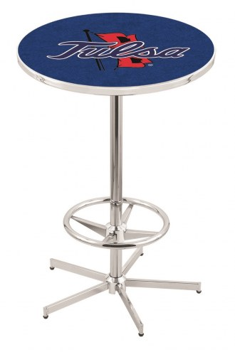 Tulsa Golden Hurricane Chrome Bar Table with Foot Ring