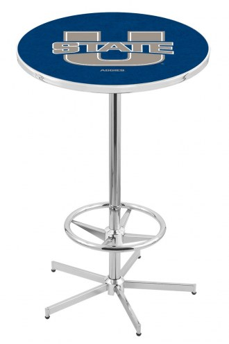 Utah State Aggies Chrome Bar Table with Foot Ring
