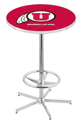 Utah Utes Chrome Bar Table with Foot Ring