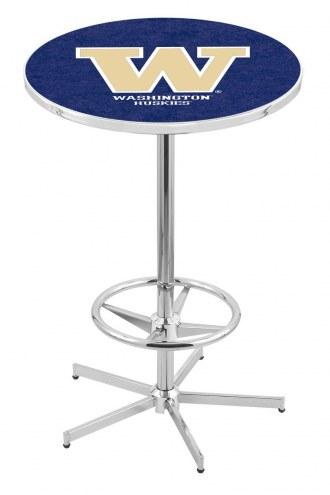 Washington Huskies Chrome Bar Table with Foot Ring