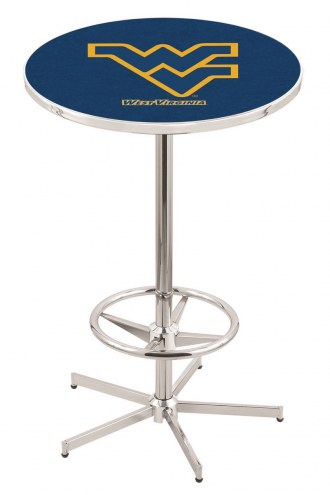 West Virginia Mountaineers Chrome Bar Table with Foot Ring