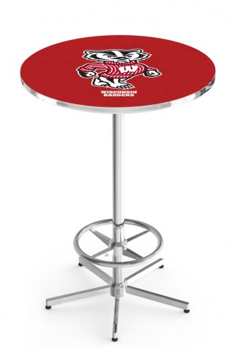 Wisconsin Badgers Chrome Bar Table with Foot Ring