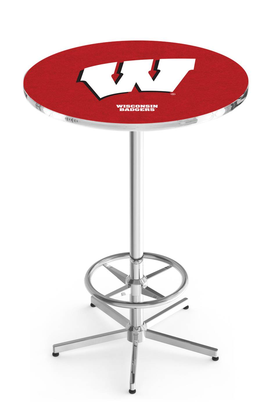"Wisconsin Badgers ""W"" Chrome Bar Table with Foot Ring"
