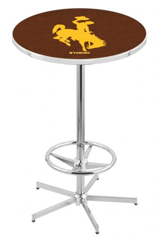 Wyoming Cowboys Chrome Bar Table with Foot Ring