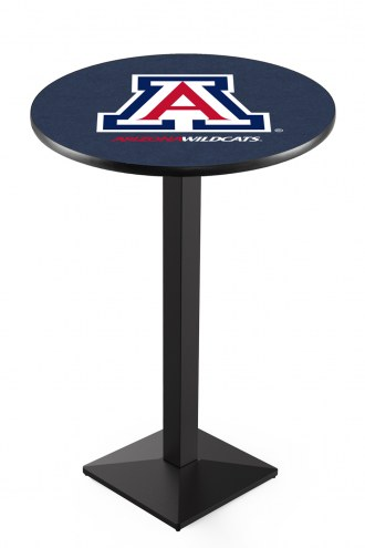 Arizona Wildcats Black Wrinkle Pub Table with Square Base