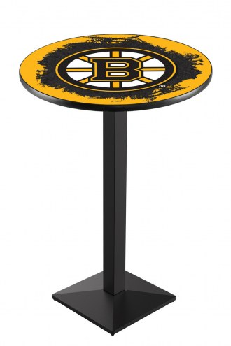 Boston Bruins Black Wrinkle Pub Table with Square Base