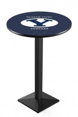 BYU Cougars Black Wrinkle Pub Table with Square Base