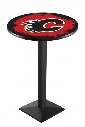 Calgary Flames Black Wrinkle Pub Table with Square Base