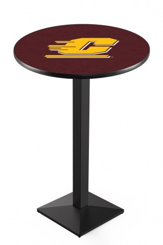 Central Michigan Chippewas Black Wrinkle Pub Table with Square Base