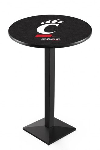 Cincinnati Bearcats Black Wrinkle Pub Table with Square Base