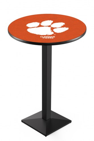 Clemson Tigers Black Wrinkle Pub Table with Square Base