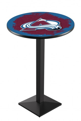 Colorado Avalanche Black Wrinkle Pub Table with Square Base