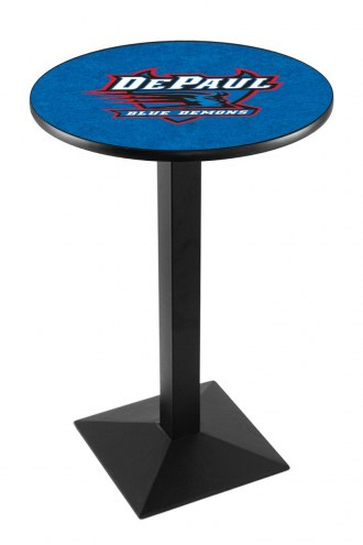 DePaul Blue Demons Black Wrinkle Pub Table with Square Base