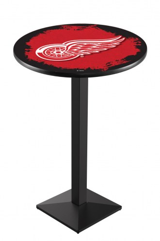 Detroit Red Wings Black Wrinkle Pub Table with Square Base