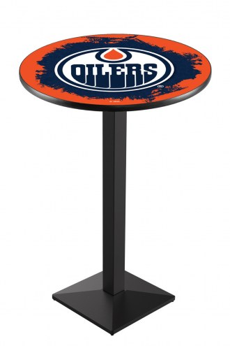 Edmonton Oilers Black Wrinkle Pub Table with Square Base