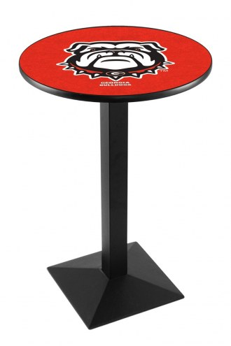 Georgia Bulldogs Black Wrinkle Pub Table with Square Base
