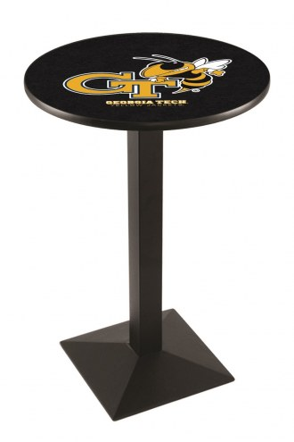 Georgia Tech Yellow Jackets Black Wrinkle Pub Table with Square Base